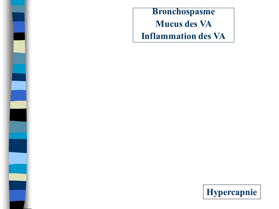 Bronchospasme Mucus des VA Inflammation des VA Hypercapnie