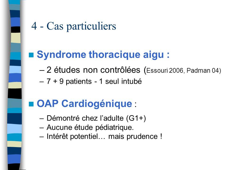 4 - Cas particuliers Syndrome thoracique aigu : OAP Cardiogénique :