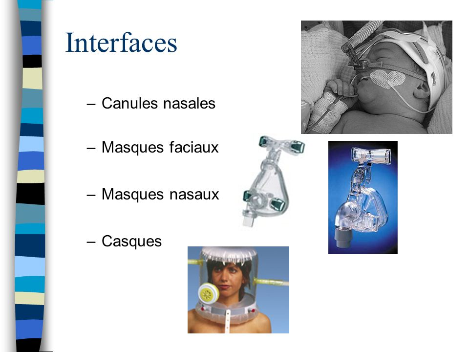 Interfaces Canules nasales Masques faciaux Masques nasaux Casques