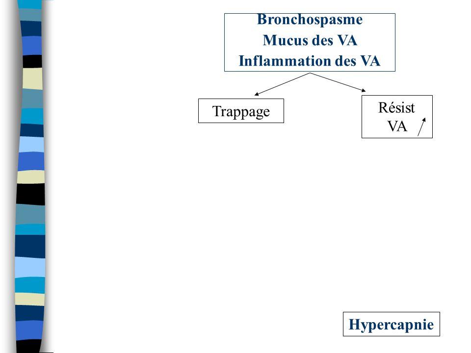 Bronchospasme Mucus des VA Inflammation des VA Résist VA Trappage Hypercapnie