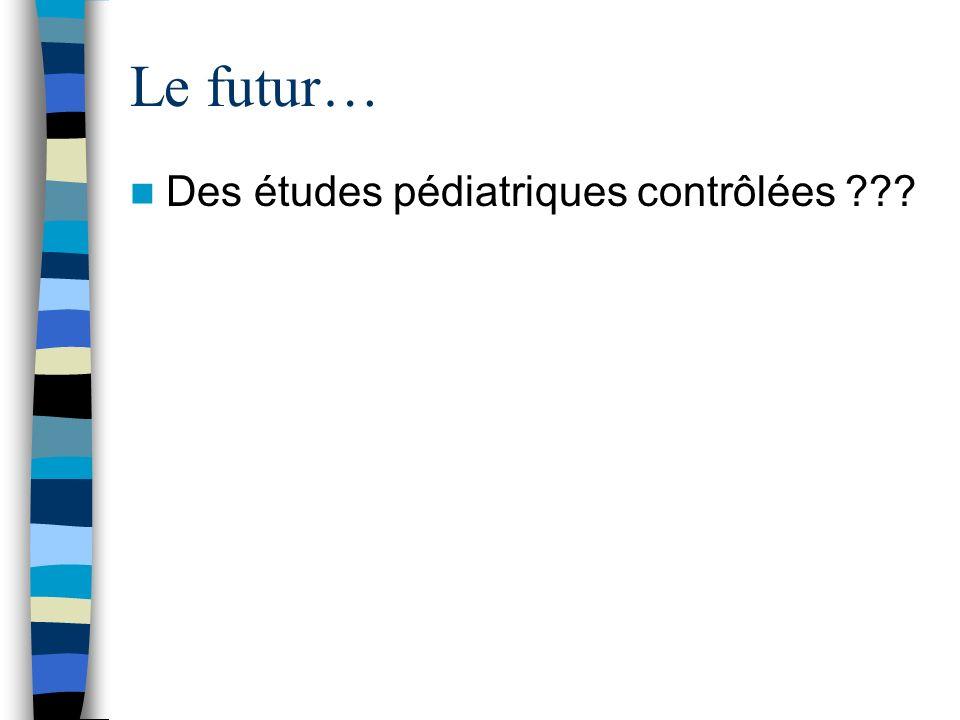 Le futur… Des études pédiatriques contrôlées