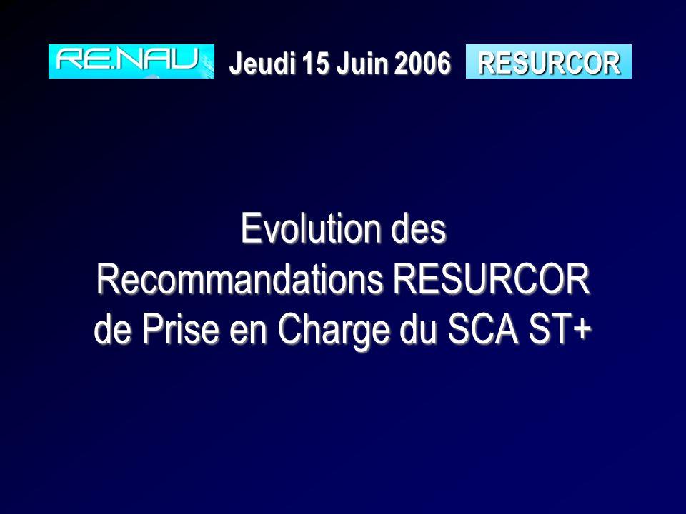 Evolution des Recommandations RESURCOR de Prise en Charge du SCA ST+