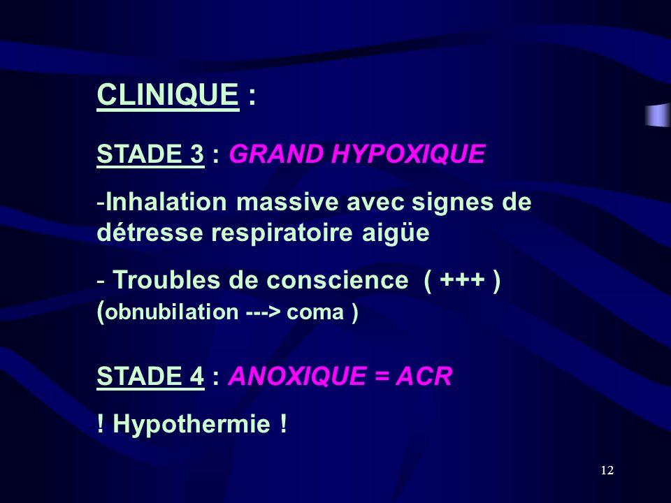 CLINIQUE : STADE 3 : GRAND HYPOXIQUE