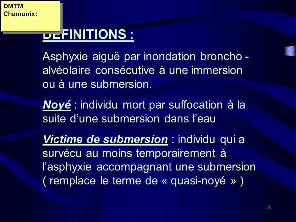 DMTM Chamonix:DEFINITIONS : Asphyxie aiguë par inondation broncho - alvéolaire consécutive à une immersion ou à une submersion.