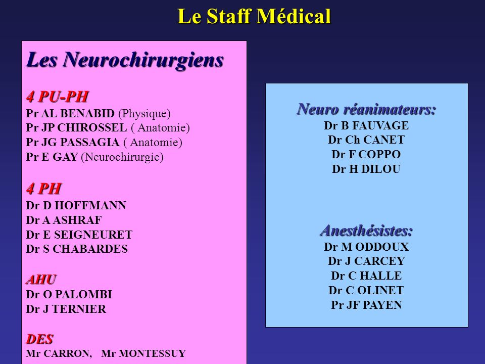 Le Staff Médical Les Neurochirurgiens 4 PU-PH Neuro réanimateurs: 4 PH