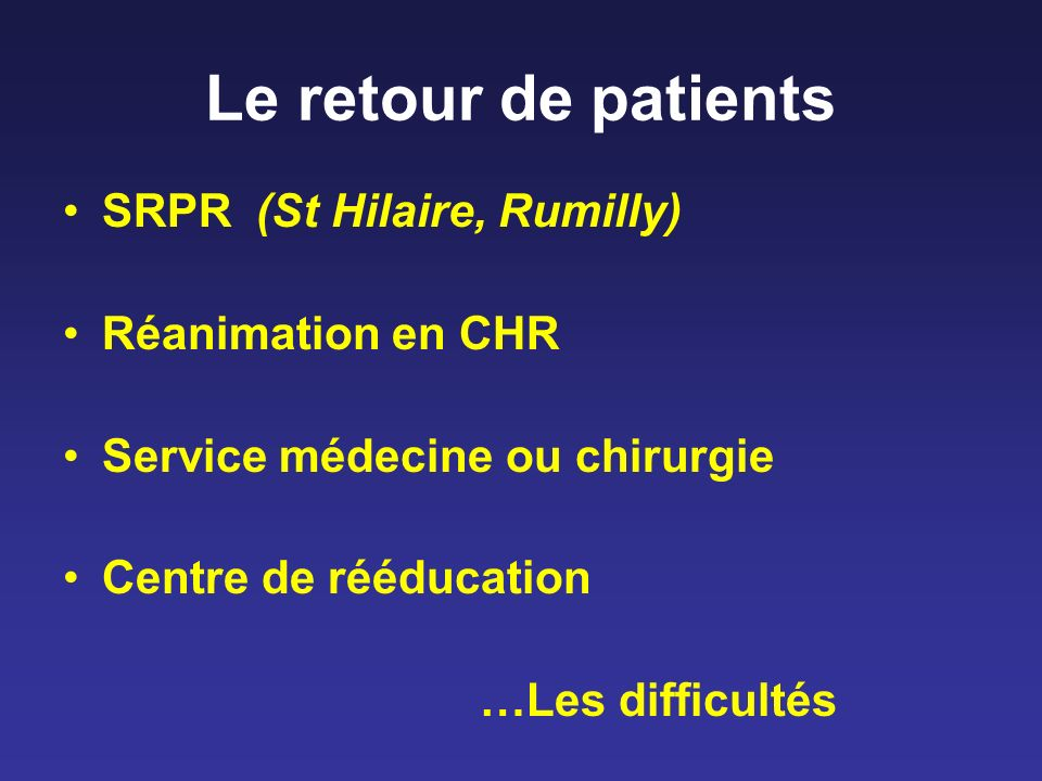Le retour de patients SRPR (St Hilaire, Rumilly) Réanimation en CHR