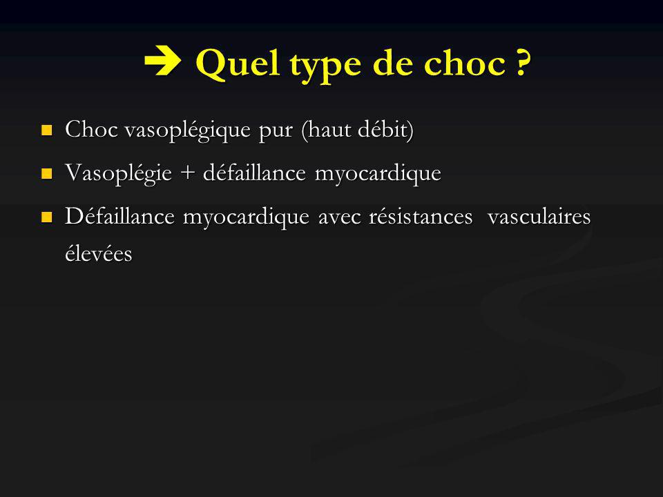  Quel type de choc Choc vasoplégique pur (haut débit)