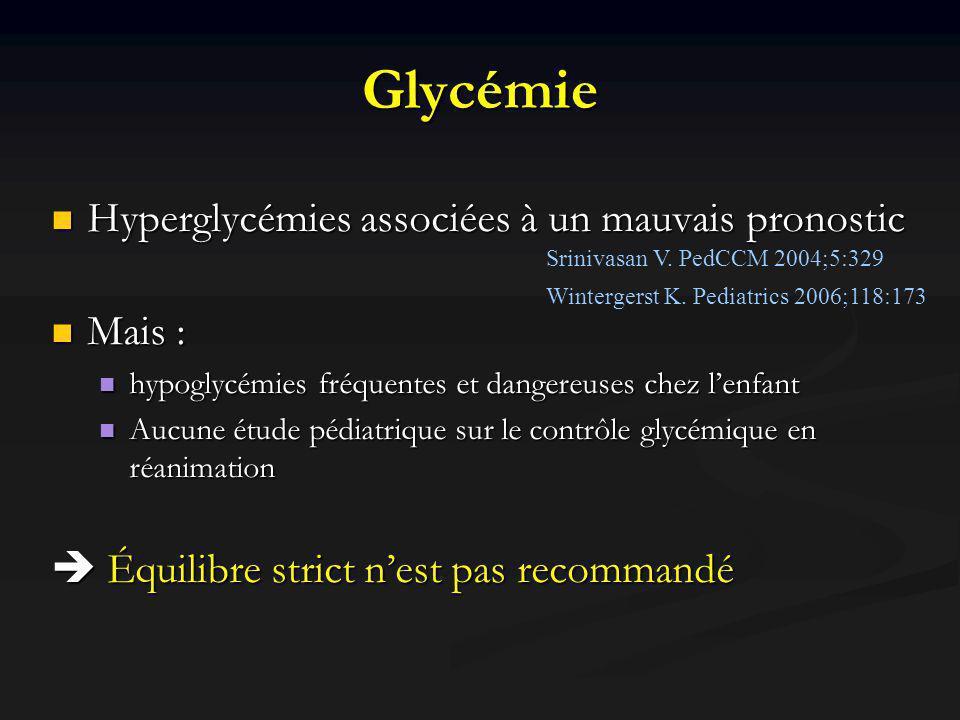Glycémie Hyperglycémies associées à un mauvais pronostic Mais :