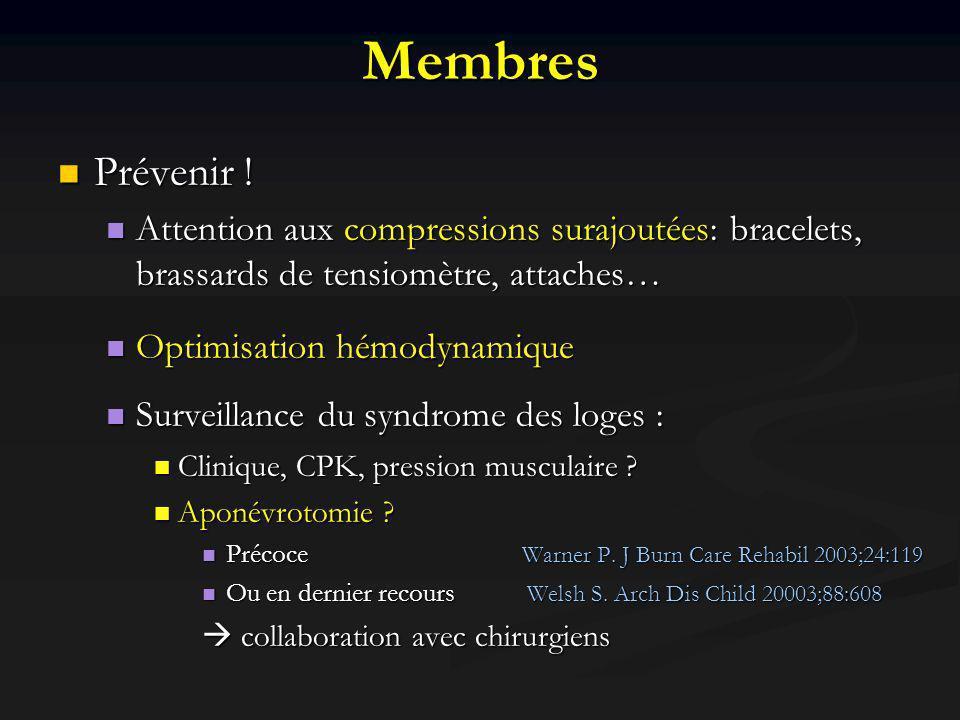Membres Prévenir ! Attention aux compressions surajoutées: bracelets, brassards de tensiomètre, attaches…