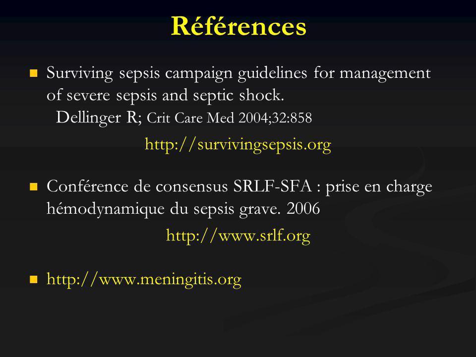 RéférencesSurviving sepsis campaign guidelines for management of severe sepsis and septic shock. Dellinger R; Crit Care Med 2004;32:858.