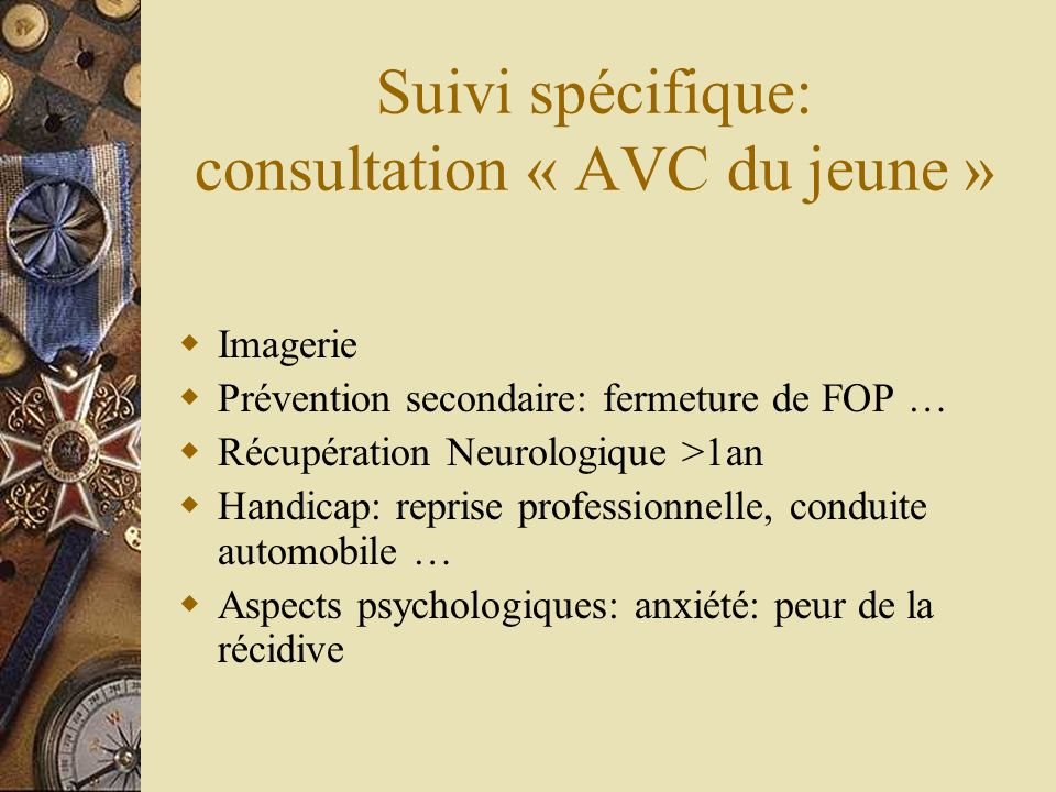 Suivi spécifique: consultation « AVC du jeune »