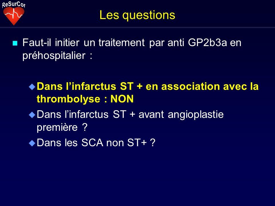 Les questionsFaut-il initier un traitement par anti GP2b3a en préhospitalier : Dans l'infarctus ST + en association avec la thrombolyse : NON.