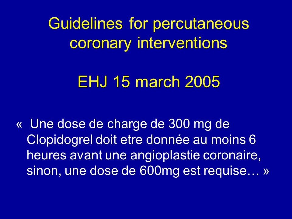 Guidelines for percutaneous coronary interventions EHJ 15 march 2005