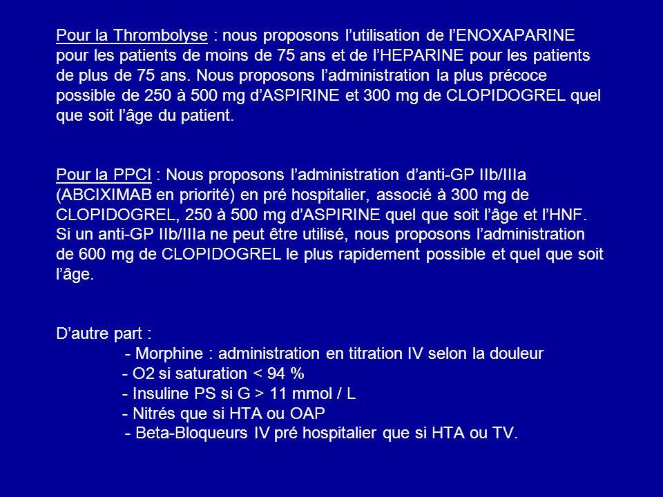 Pour la Thrombolyse : nous proposons l'utilisation de l'ENOXAPARINE pour les patients de moins de 75 ans et de l'HEPARINE pour les patients de plus de 75 ans.