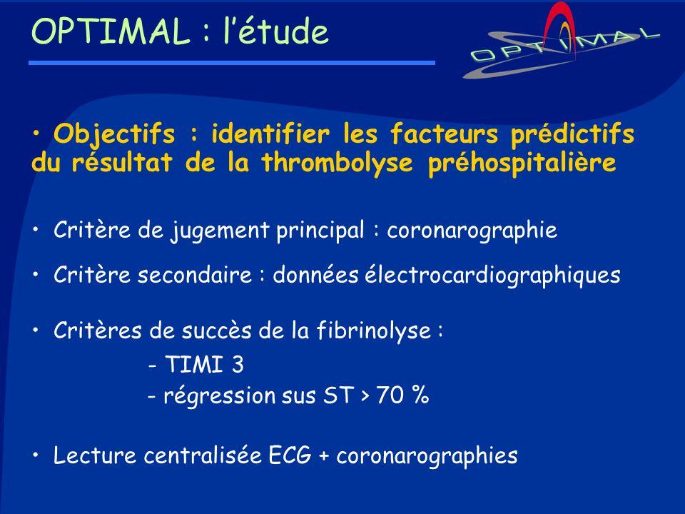 OPTIMAL : l'étude Objectifs : identifier les facteurs prédictifs du résultat de la thrombolyse préhospitalière.