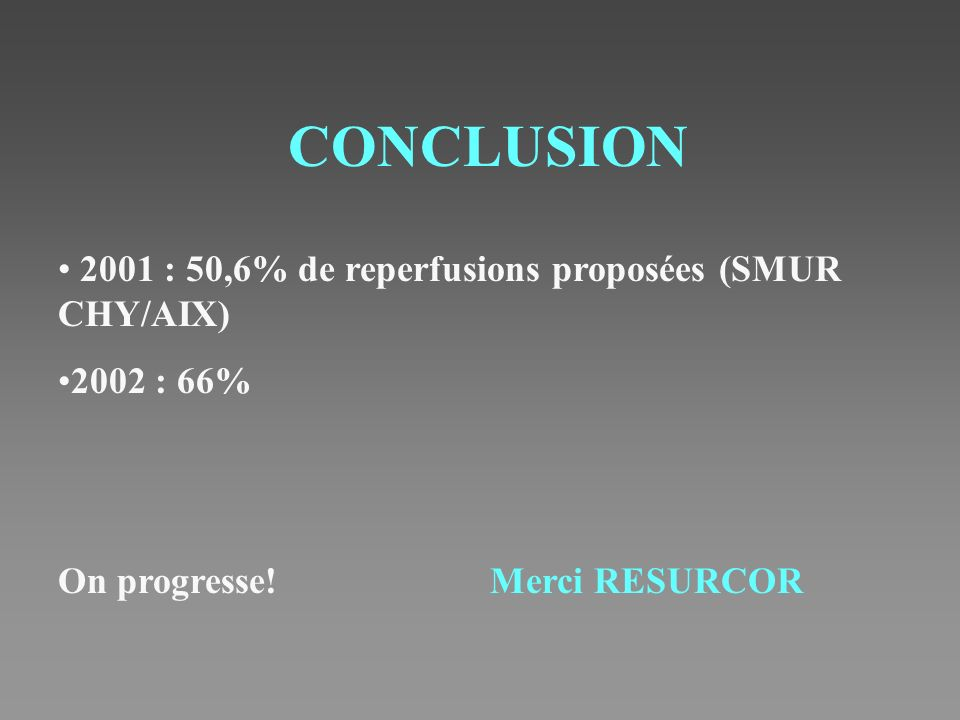 CONCLUSION 2001 : 50,6% de reperfusions proposées (SMUR CHY/AIX)