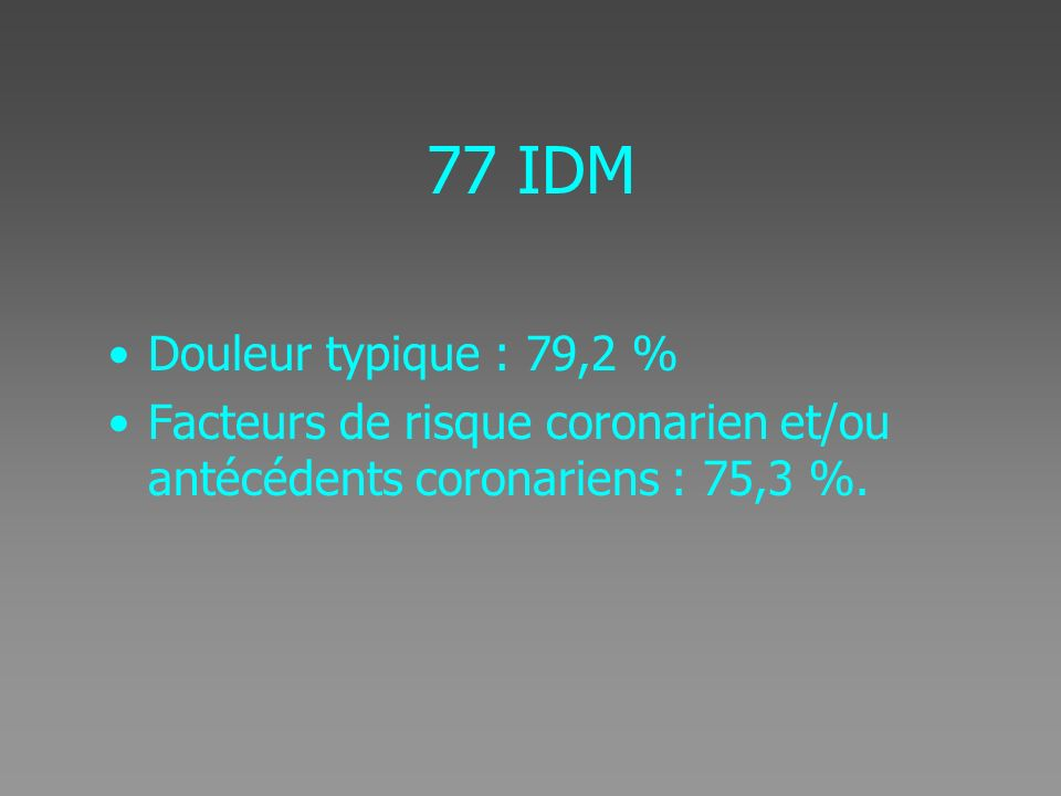77 IDM Douleur typique : 79,2 % Facteurs de risque coronarien et/ou antécédents coronariens : 75,3 %.