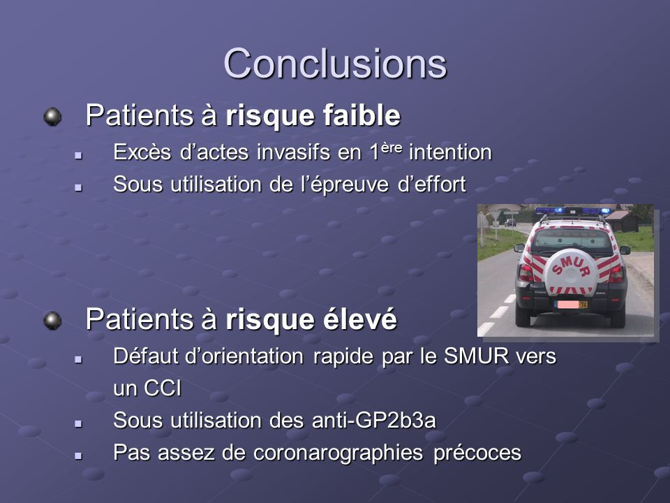 Conclusions Patients à risque faible Patients à risque élevé