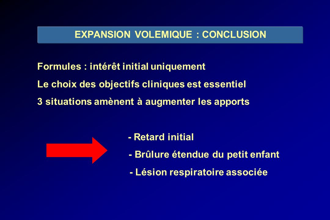 EXPANSION VOLEMIQUE : CONCLUSION