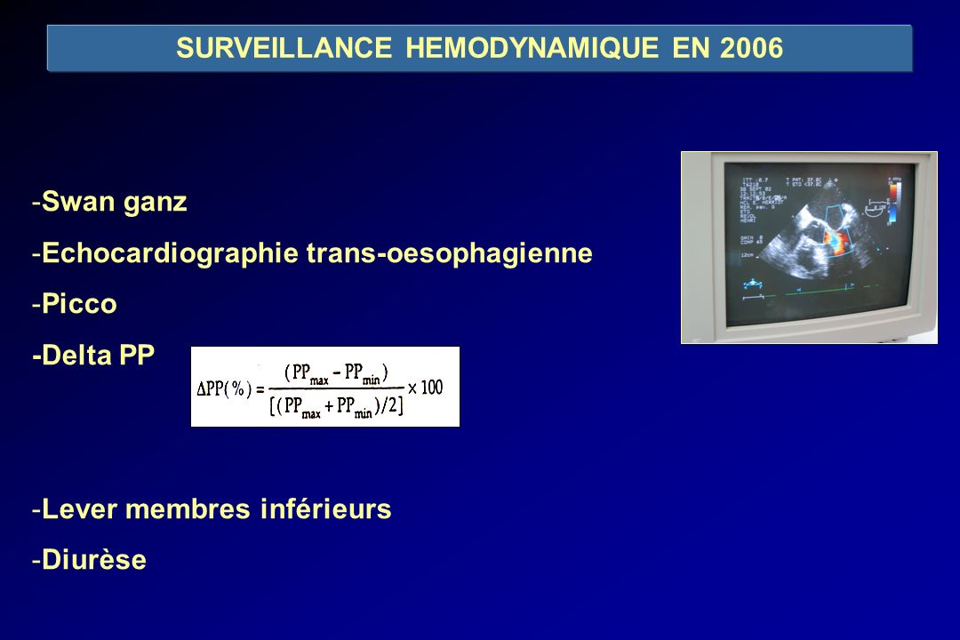 SURVEILLANCE HEMODYNAMIQUE EN 2006