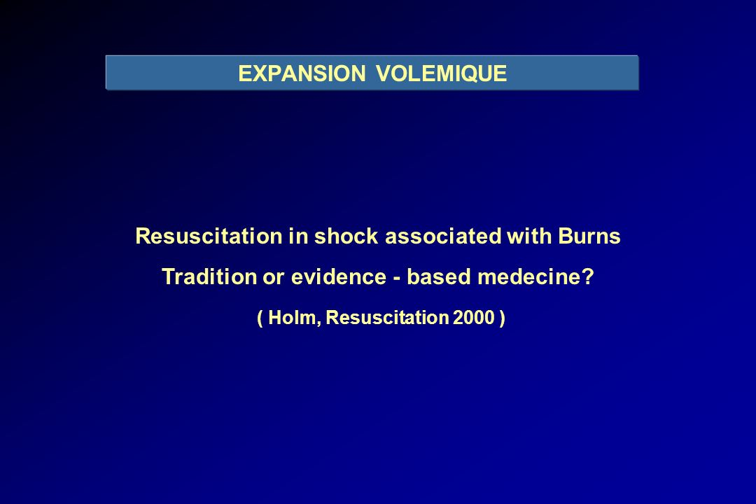 Resuscitation in shock associated with Burns