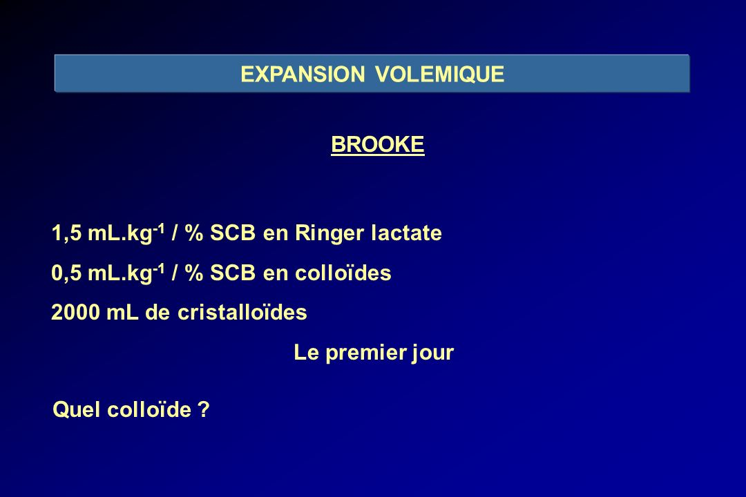 EXPANSION VOLEMIQUE BROOKE. 1,5 mL.kg-1 / % SCB en Ringer lactate. 0,5 mL.kg-1 / % SCB en colloïdes.