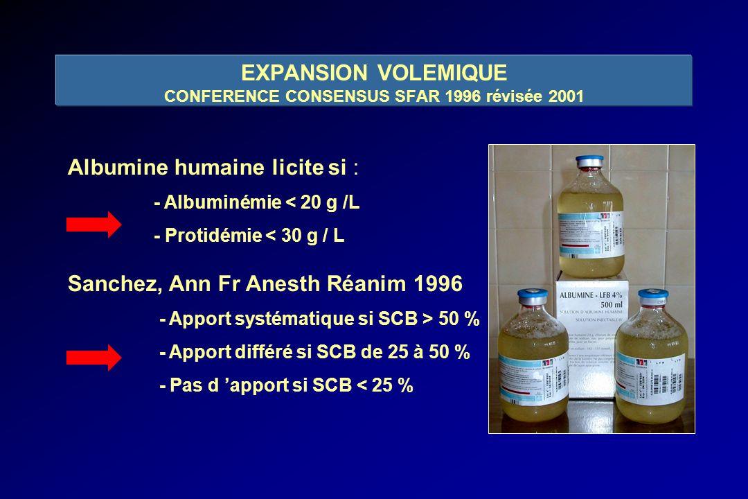 EXPANSION VOLEMIQUE CONFERENCE CONSENSUS SFAR 1996 révisée 2001