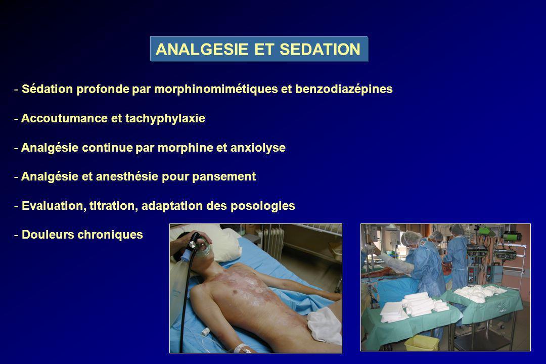 ANALGESIE ET SEDATION Sédation profonde par morphinomimétiques et benzodiazépines. Accoutumance et tachyphylaxie.
