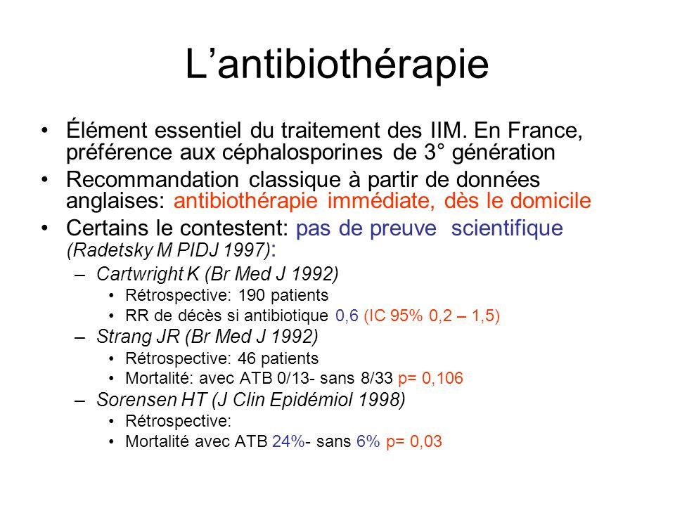 L'antibiothérapie Élément essentiel du traitement des IIM. En France, préférence aux céphalosporines de 3° génération.