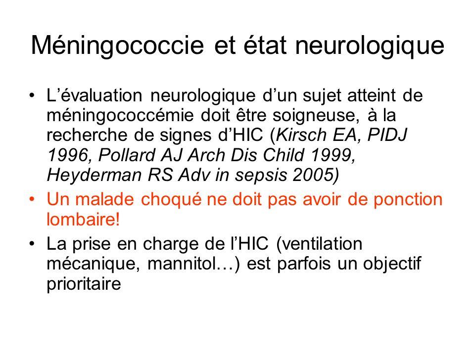 Méningococcie et état neurologique
