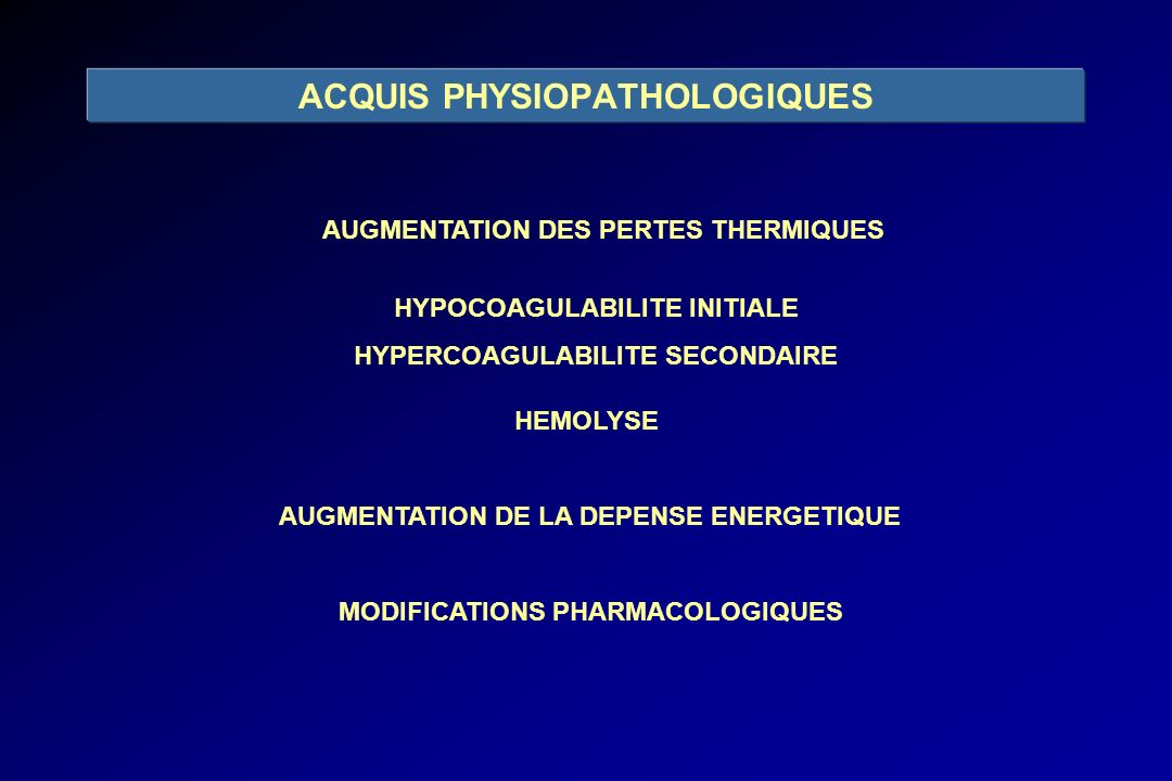 ACQUIS PHYSIOPATHOLOGIQUES
