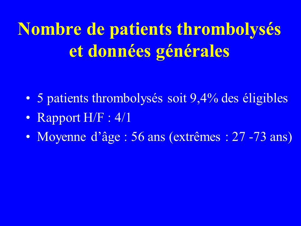 Nombre de patients thrombolysés et données générales
