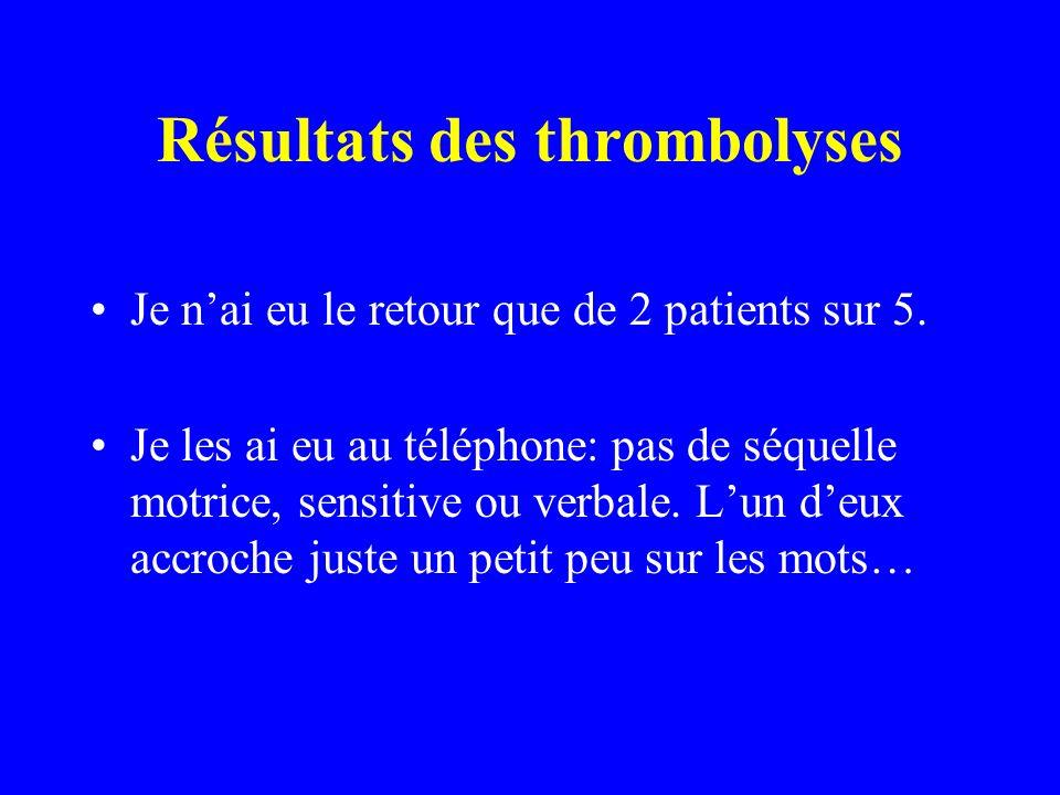 Résultats des thrombolyses