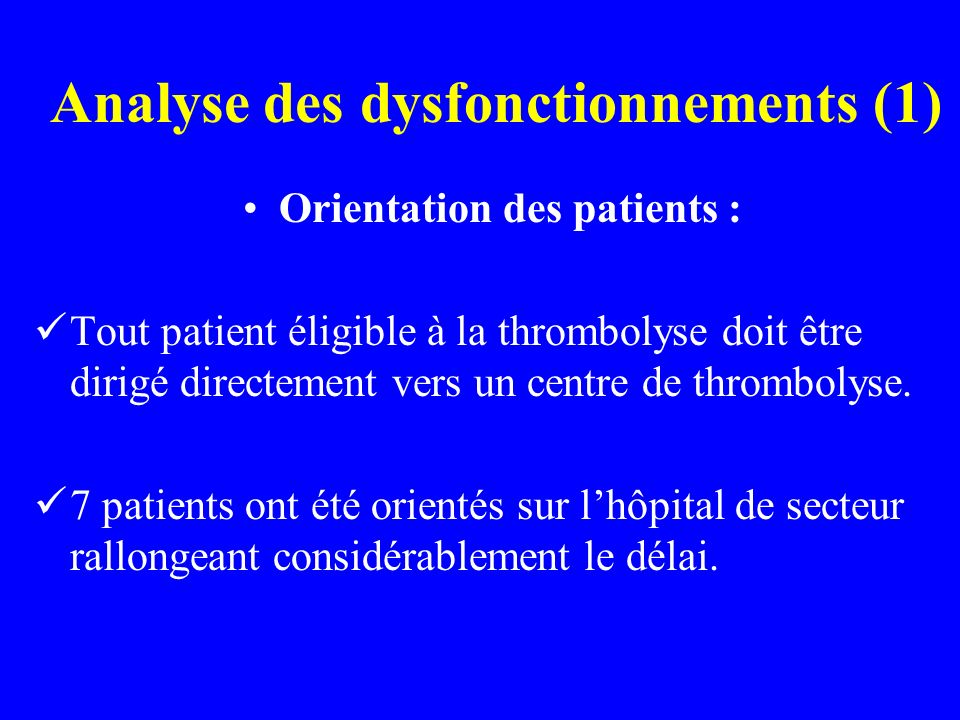 Analyse des dysfonctionnements (1)