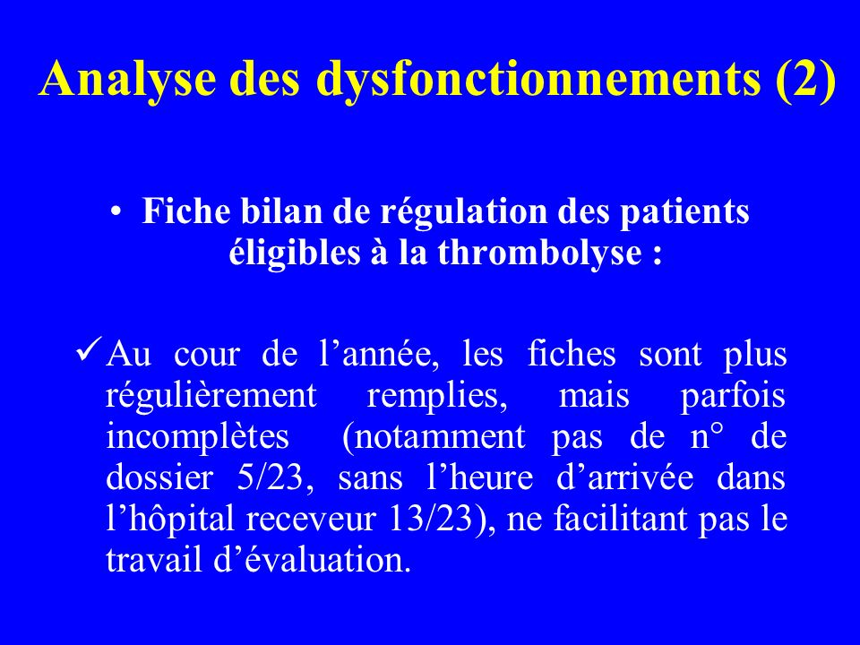 Analyse des dysfonctionnements (2)