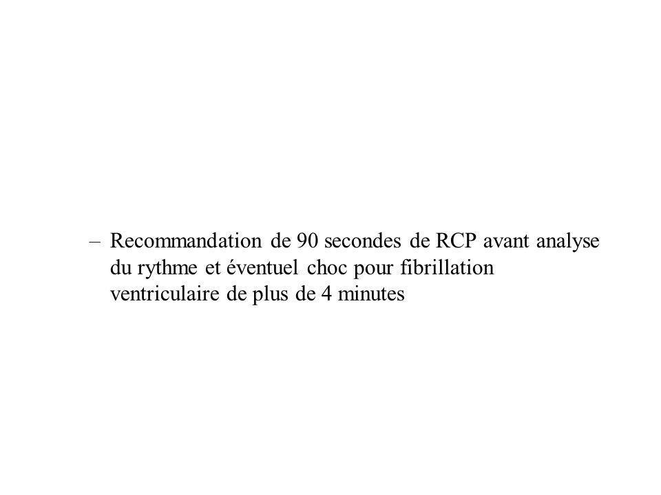 Recommandation de 90 secondes de RCP avant analyse du rythme et éventuel choc pour fibrillation ventriculaire de plus de 4 minutes