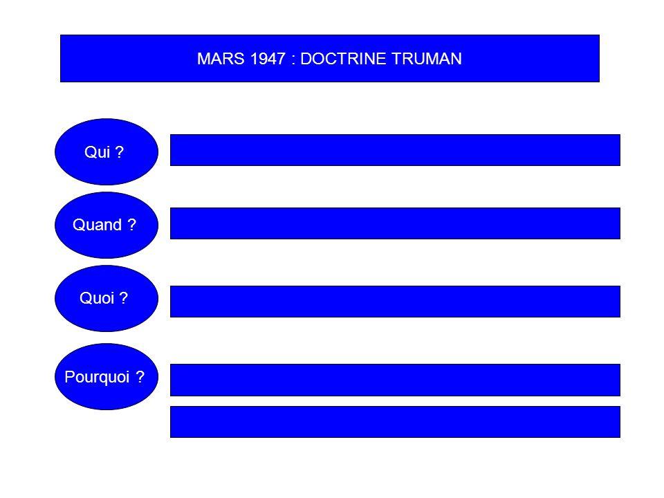 MARS 1947 : DOCTRINE TRUMAN Qui Quand Quoi Pourquoi