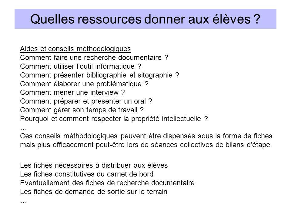 Quelles ressources donner aux élèves