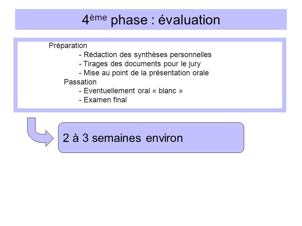 4ème phase : évaluation 2 à 3 semaines environ Préparation