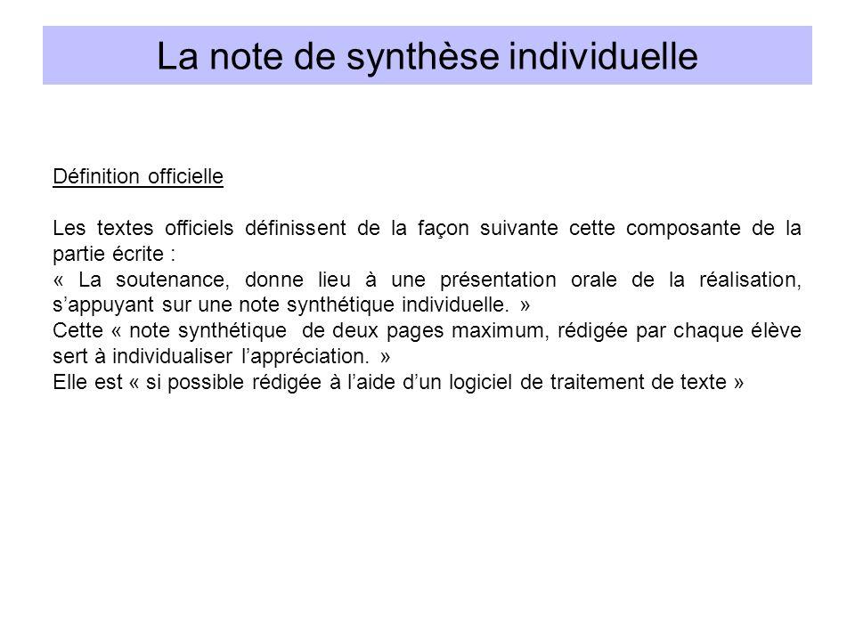 La note de synthèse individuelle