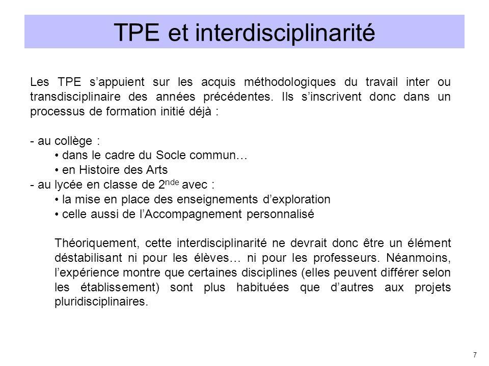 TPE et interdisciplinarité