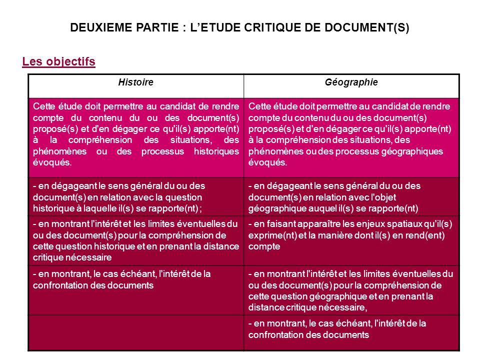 DEUXIEME PARTIE : L'ETUDE CRITIQUE DE DOCUMENT(S)