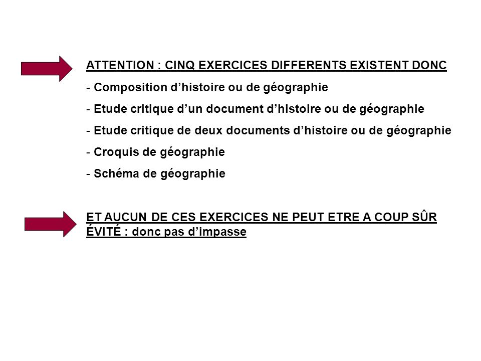 ATTENTION : CINQ EXERCICES DIFFERENTS EXISTENT DONC