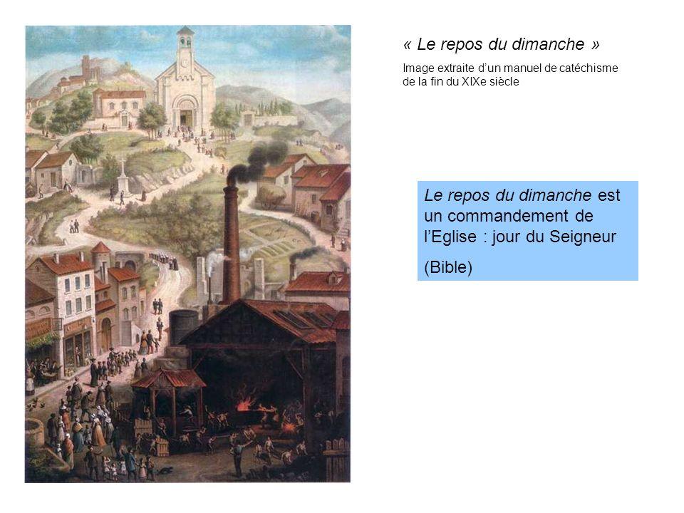 « Le repos du dimanche » Image extraite d'un manuel de catéchisme de la fin du XIXe siècle.