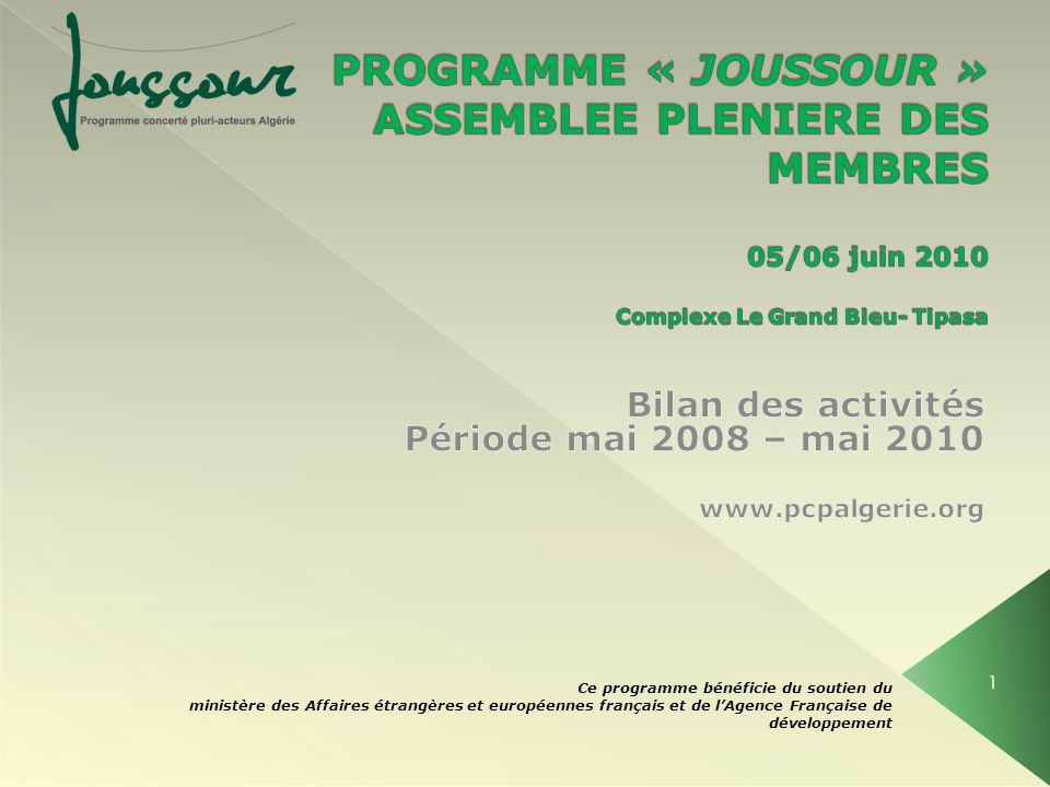 Bilan des activités Période mai 2008 – mai 2010 www.pcpalgerie.org
