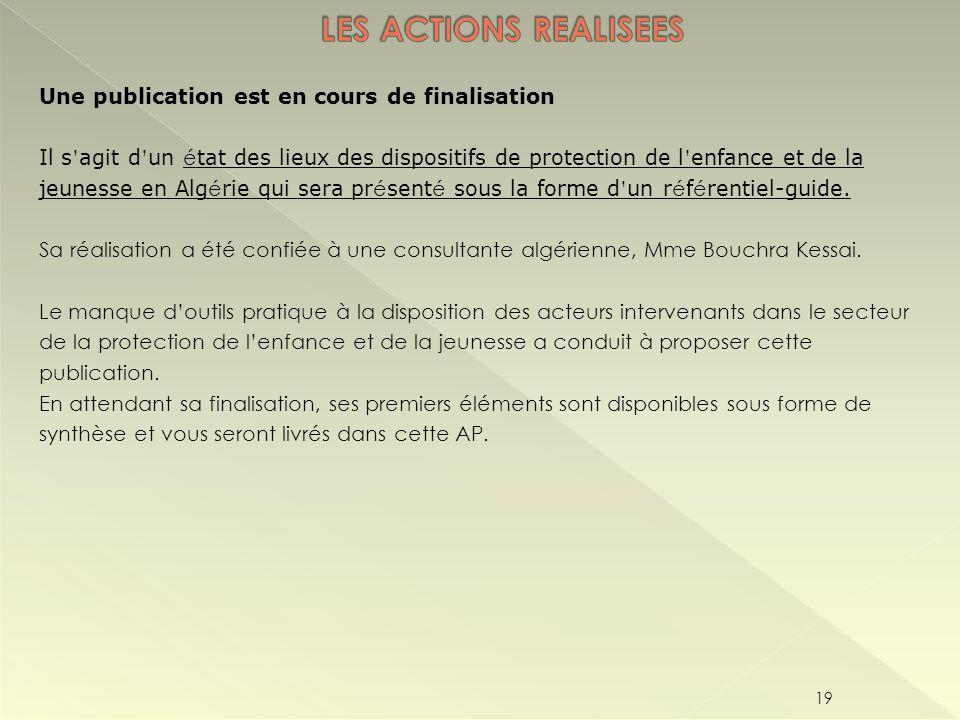 LES ACTIONS REALISEES Une publication est en cours de finalisation