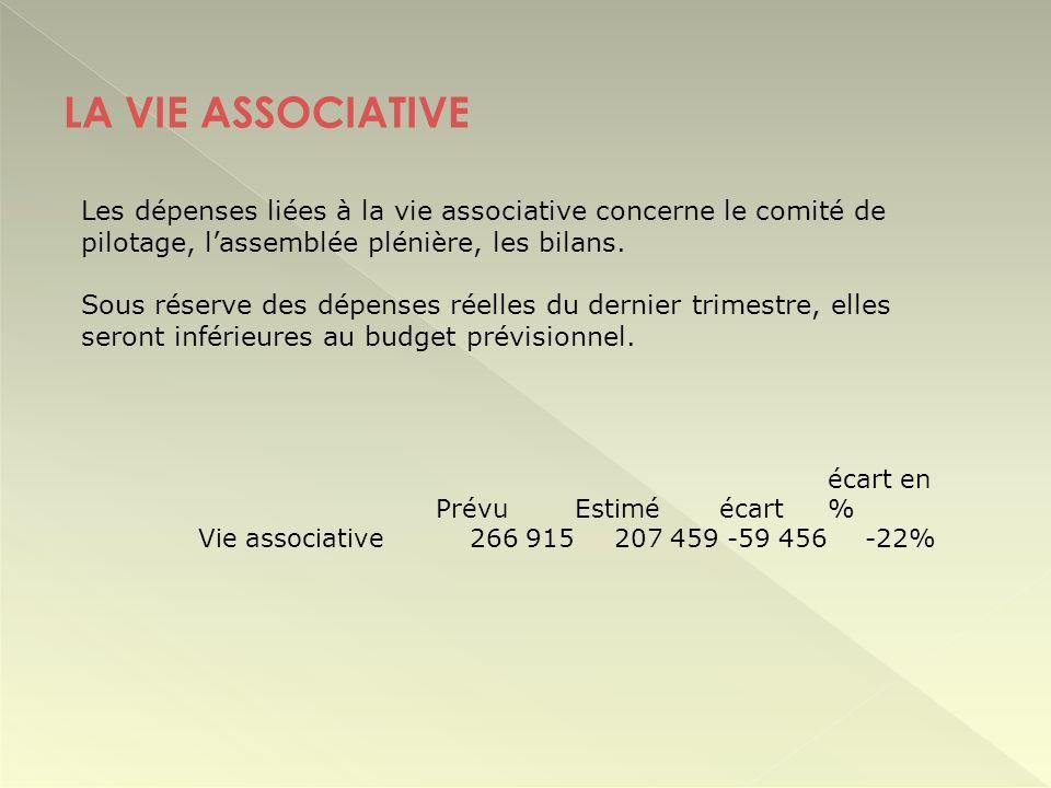 LA VIE ASSOCIATIVE Les dépenses liées à la vie associative concerne le comité de pilotage, l'assemblée plénière, les bilans.