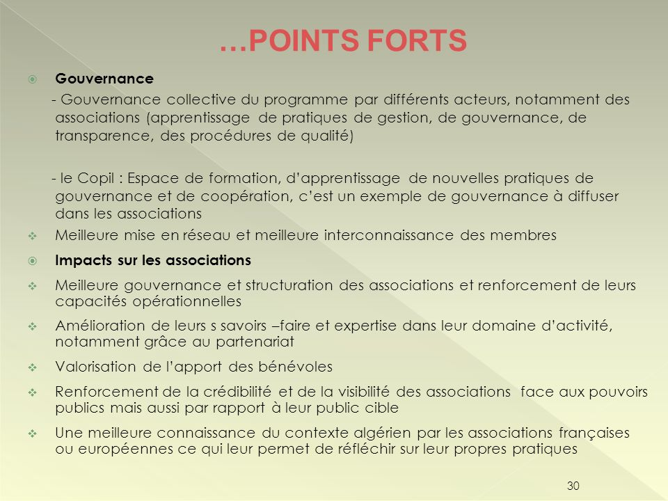 …POINTS FORTS Gouvernance