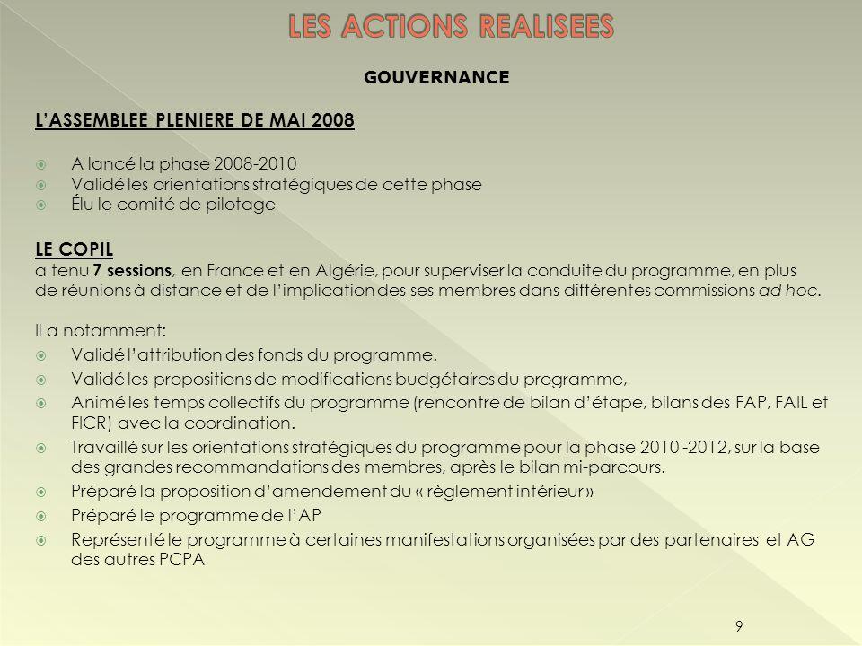 LES ACTIONS REALISEES L'ASSEMBLEE PLENIERE DE MAI 2008 LE COPIL