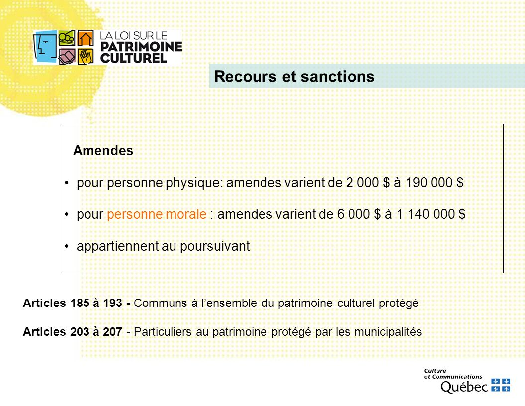 Recours et sanctions Amendes